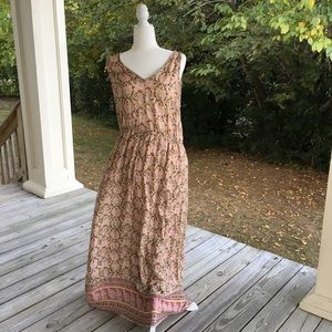 NWT Lucky Brand Maxi Dress BOHO Drawstring Waist